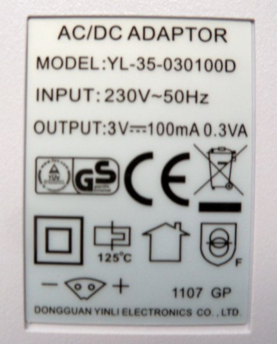 Specificatie apapter WP-450 Waterflosser